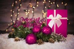 快活圣诞节的装饰 免版税库存图片