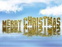 快活圣诞节的金子 免版税库存照片