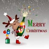 快活的圣诞节 与圣诞节鹿的圣诞节背景 免版税库存照片