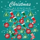 快活的圣诞节 出现日历与圣诞节袜子、球和圣诞树的假日模板与圣诞节的数字 皇族释放例证