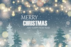 快活的圣诞节 新年好 与落的圣诞节雪的圣诞节风景, 免版税图库摄影