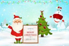 快活的圣诞节 新年好 快乐的圣诞老人项目在圣诞节雪场面冬天拿着木留言栏,雪人 免版税库存照片