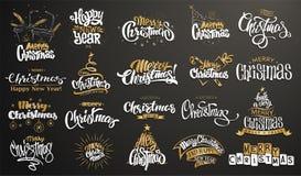 快活的圣诞节 新年好 手写的现代刷子字法,印刷术集合 免版税图库摄影