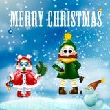 快活的圣诞节 驱动乐趣爬犁冬天 皇族释放例证