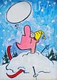 快活的滑雪者 免版税库存图片