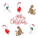 快活的CAT圣诞节样式 库存照片