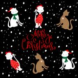 快活的CAT圣诞节样式 库存图片