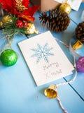 快活的x ` mas拟订与圣诞节装饰项目 免版税库存图片