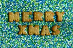 快活的xmas 从说谎给上釉的可食的信件的词在 库存图片