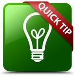 快的技巧电灯泡象绿色正方形按钮 库存图片