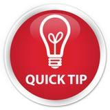 快的技巧(电灯泡象)优质红色圆的按钮 免版税库存照片