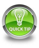快的技巧(电灯泡象)光滑的绿色圆的按钮 库存照片