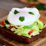 快的蛋水煮的三明治 在一个黑麦面包切片的一个荷包蛋用新鲜的圆白菜、黄瓜、胡椒和荷兰芹 库存图片
