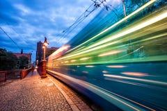 快行电车被弄脏的轻的足迹 免版税库存图片
