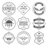 快递标签和徽章设计元素传染媒介 免版税库存照片