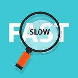 快速和缓慢的概念经营分析放大镜标志 库存例证