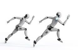 快速地跑的靠机械装置维持生命的人 库存例证