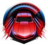 快速地驾驶通过车速表的跑车构思设计 皇族释放例证