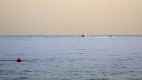 快速汽艇船航行在沿热带海的日落 免版税库存照片
