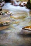 在山的快速流动的水 免版税库存照片