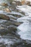 快速流动的水的林恩峡谷,北温哥华区 库存照片