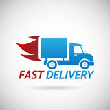 快速的交付标志运输卡车剪影 库存图片