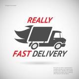 快速的交付标志运输卡车剪影 免版税库存图片