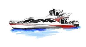 快速的汽艇或游艇 库存例证