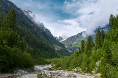 快速的河流动在两座高山之间在森林 库存照片