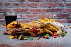 快速的碳水化合物食物 库存照片