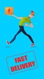 快速的自由交付 与箱子的传讯者奔跑在命令 在一个平的样式的五颜六色的字符 免版税图库摄影