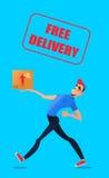 快速的自由交付 与箱子的传讯者奔跑在命令 在一个平的样式的五颜六色的字符 库存照片