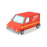 快速的送货车 快速的送货卡车 外籍动画片猫逃脱例证屋顶向量 库存图片