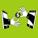 快速的金钱和流动设备在手中 库存图片