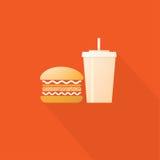 快餐、汉堡包和饮料 库存照片