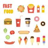 快餐五颜六色的平的设计集合 免版税图库摄影