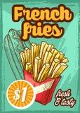 快餐传染媒介炸薯条菜单剪影海报 库存例证