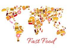 快餐传染媒介世界地图 免版税库存照片