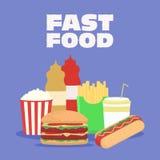 快餐传染媒介例证 炸薯条,热狗,玉米花,汉堡包,可乐 咖啡馆和餐馆菜单的模板  免版税库存照片