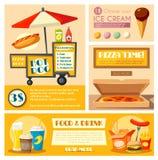 快餐供营商菜单传染媒介海报横幅 皇族释放例证
