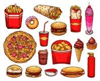 快餐午餐用三明治、饮料和点心 皇族释放例证