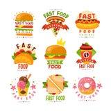 快餐商标设置,食物和饮料菜单,汉堡,热狗,薄饼,炸玉米饼,咖啡,多福饼,三明治,冰淇凌传染媒介 免版税图库摄影