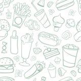 快餐图画无缝的样式 线艺术有白色背景 库存图片