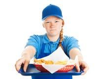 快餐工作者-粗鲁的态度 免版税图库摄影