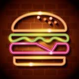 快餐汉堡霓虹标签 向量例证