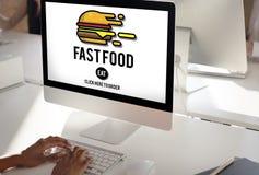 快餐汉堡破烂物膳食外带的卡路里概念 免版税库存照片