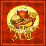 快餐菜单与热狗的设计名单 皇族释放例证