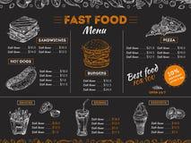 快餐菜单 剪影三明治汉堡,比萨快餐在黑板的葡萄酒设计 便当餐馆菜单板 皇族释放例证