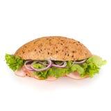快餐长方形宝石三明治用莴苣、蕃茄、火腿和chees 免版税库存照片