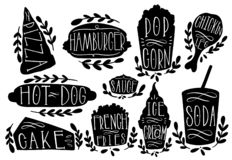 快餐集合传染媒介例证 塑造文本比萨,汉堡包,热狗,玉米花,香肠,frie,冰淇凌,苏打 邮票象手凹道 向量例证